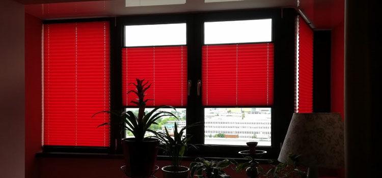 Шторы плиссе в системе Р1615 из ткани Жемчуг красный — Москва, Варшавское шоссе
