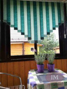 Вертикальные тканевые жалюзи со скошенными краями, чередование двух цветов Рио св.зелёный и Рио т.зелёный - СНТ Солнечное
