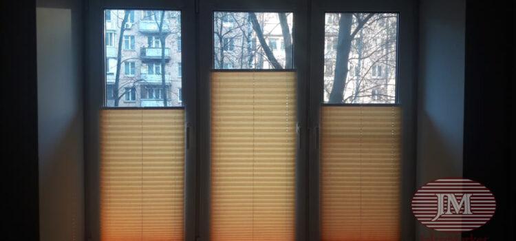 Шторы-плиссе в системе Р1615 из ткани Краш перла шафран — Москва, Пинский проезд