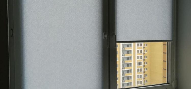 Рулонные шторы в системе MINI из ткани Шёлк и Рябина — г.Видное ЖК Северный квартал