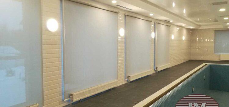 Рулонные шторы с тканью Скрин установлены в бассейне - Щёлковский район, д.Орлово