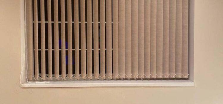 Вертикальные жалюзи с тканью Оптима т.бежевый — Нахабино, СНТ Берёзка