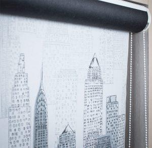Рулонные LVT короб Ткань: короб - Омега 1908 черный, Нью-Йорк 1852 серый
