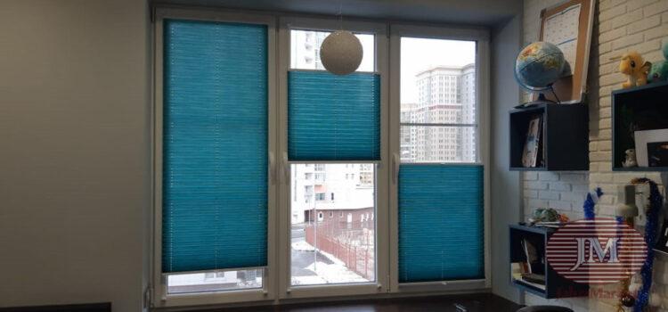 Шторы плиссе из ткани Ямайка бирюзовый в системе Р1615 — г.Москва, ул.Столетова, Метро Раменки