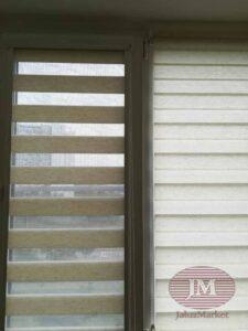 Рулонные шторы в системе Зебра UNI2 из ткани Лён св.бежевый - Москва, ул.Таллинская