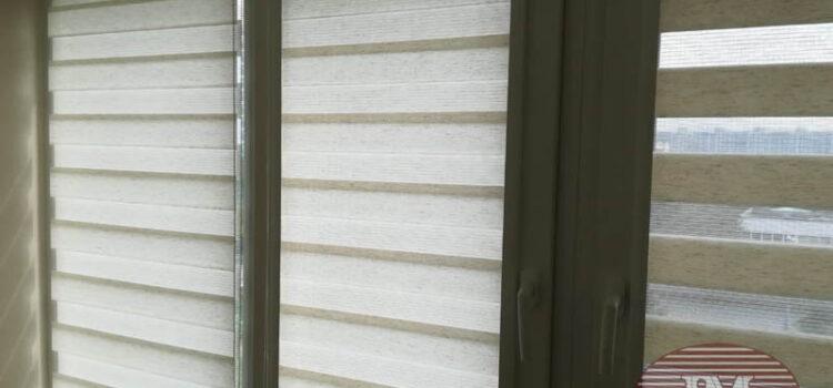 Рулонные шторы в системе Зебра UNI2 из ткани Лён св.бежевый — Москва, ул.Таллинская