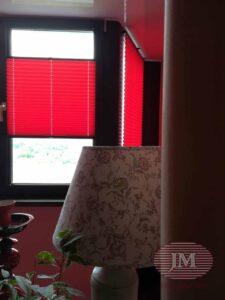 Шторы плиссе в системе Р1615 из ткани Жемчуг красный - Москва, Варшавское шоссе