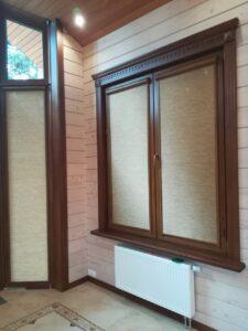 Рулонные шторы в системе UNI2, фурнитура золотой дуб - МО, п.Малаховка