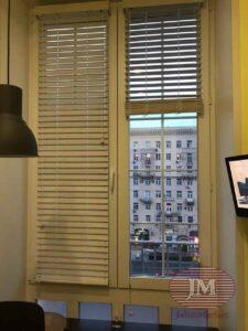 Горизонтальные жалюзи 50мм в мансардном исполнении, материал Бамбук 50мм в жемчужном цвете - Кутузовский проспект