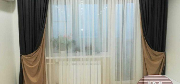 Портьеры и тюль для спальни и гостиной на декоративном подкладе из коллекции Espocada и DayLight — Москва, ул.Твардовского