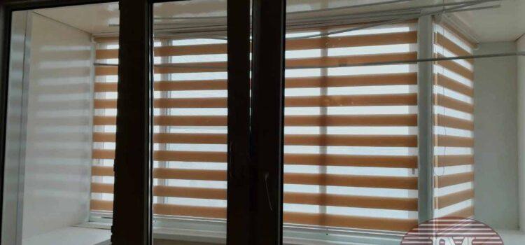 Свободновисящие рулонные шторы Зебра с тканью Тетрис — Ул.2-ой Южнопортовый проезд