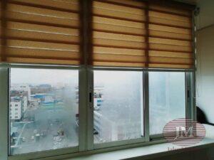 Рулонные шторы Зебра в кассетной системе UNI2, ткань Стандарт фисташковый