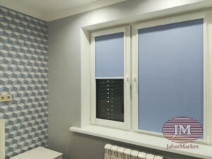 Рулонные шторы в кассетной системе UNI2 из ткани Ямайка св.серый и Омега св.сиреневый - МО, г.Долгопрудный, Новый бульвар