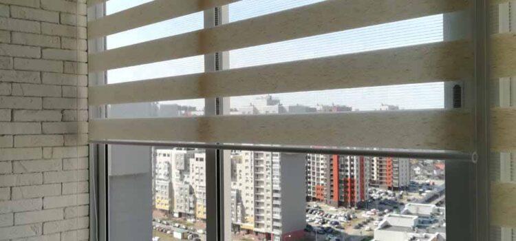 Свободновисящая рулонная штора Зебра из ткани Лён св.бежевый — мкр.Новое Измайлово