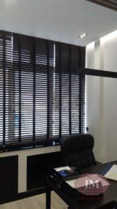 Горизонтальные жалюзи из Бамбука 50мм, цвет «Черный» с тканевой лесенкой «Чёрный» - Москва, проспект Маршала Жукова