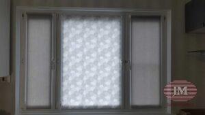 Рулонные шторы в системе MINI из тканей Омега Лайт серый и Сканди серый - Москва, ул.Лескова
