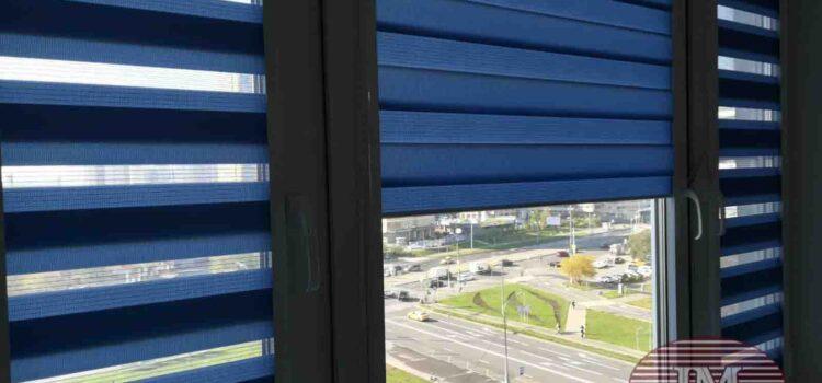 Рулонные шторы Зебра в системе UNI2  из ткани Стандарт синий, Стандарт фисташковый, Степ серый — Москва, ул. Исаковского