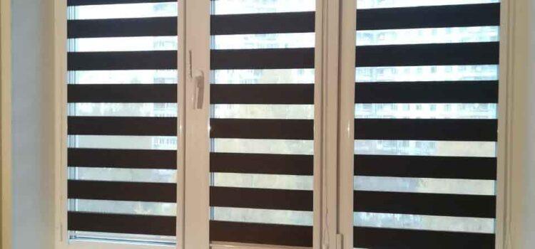 Рулонные шторы Зебра в системе UNI2 из ткани Сахара тёмно-коричневый — Москва, ул.Ак.Анохина